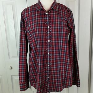 Gap red and blue plaid ruffled button up shirt